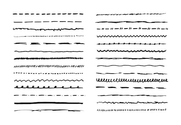 マーカー手描き線枠セットおよび落書きデザイン要素。