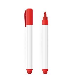 흰색 바탕에 평면 스타일의 마커입니다. 벡터 일러스트 레이 션 디자인입니다.