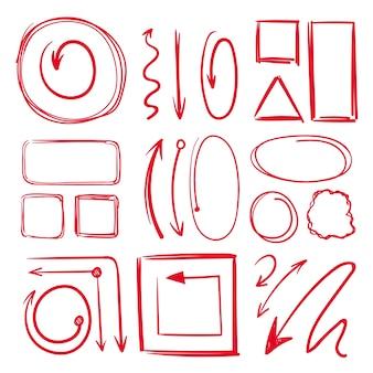 マーカー、下線、矢印付きのさまざまな落書きフレーム。手描きコレクションマーカー線スケッチ描画イラスト