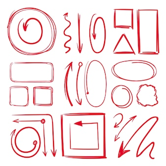 Marker, underlines and different doodle frames with arrows.  hand drawn collection marker line sketch drawing illustration