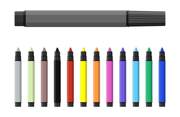 マーカーペン。さまざまなカラーマーカーのセット。水彩ペン。 er、イラストレーター、アーティストのためのツール。文房具および事務用品。