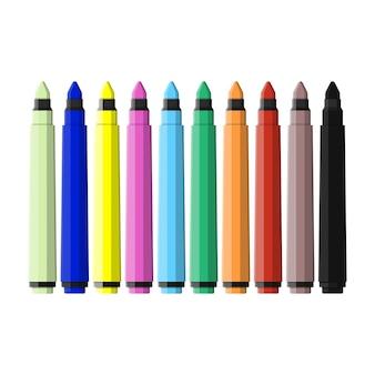 마커펜. 다양한 색상 마커 세트입니다.