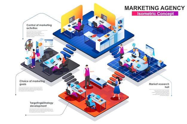Маркетинговое агентство изометрической концепции плоской иллюстрации