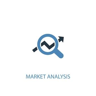 Концепция анализа рынка 2 цветной значок. простой синий элемент иллюстрации. дизайн символа концепции анализа рынка. может использоваться для веб- и мобильных ui / ux