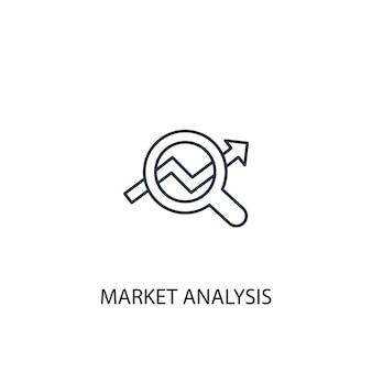 Значок линии концепции анализа рынка. простая иллюстрация элемента. концепция анализа рынка наброски символ дизайн. может использоваться для веб- и мобильных ui / ux