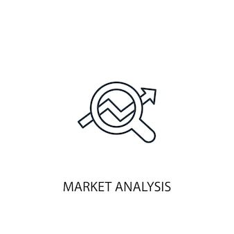 Market analysis concept line icon. simple element illustration. market analysis concept outline symbol design. can be used for web and mobile ui/ux
