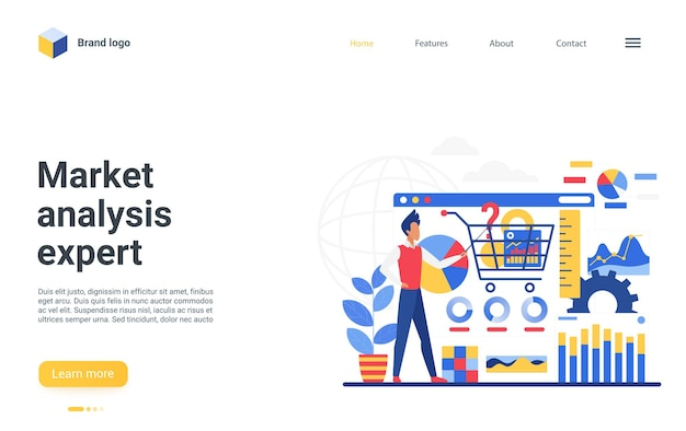 Market analysis expert landing page, businessman consults, makes financial research