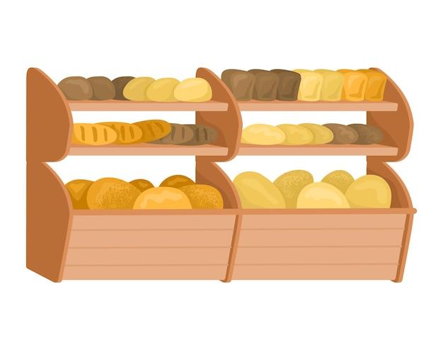 시장 빵 가게 선반, 신선한 수제 덩어리