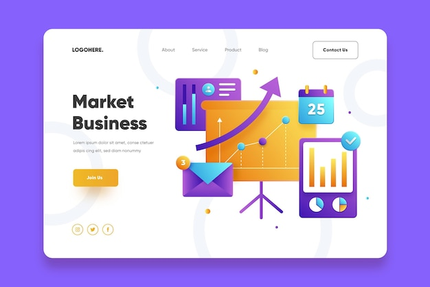 Market business landing page template