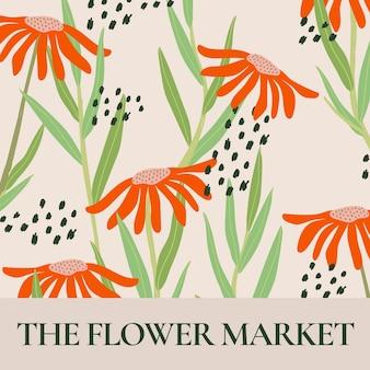 Market flower template vector for social media post