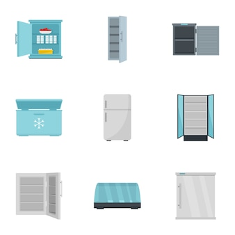 Market fridge icon set, flat style