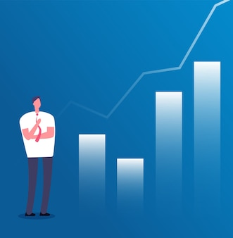 Market growth concept. businessman with growth chart. success business, investment income planning and career growth