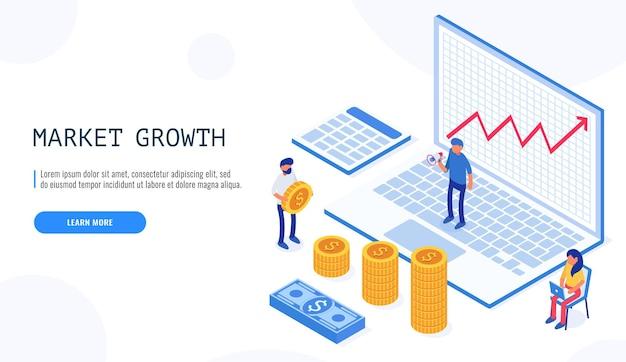 시장 성장 개념. 사람들이 일