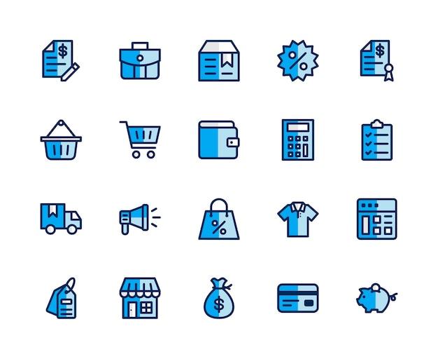 Market icon set. fullfile color style