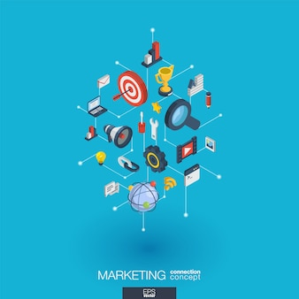 Market integrated  web icons. digital network isometric interact concept. connected graphic  dot and line system. abstract background for seo optimization, web development.  infograph