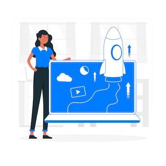 Illustrazione di concetto di lancio sul mercato
