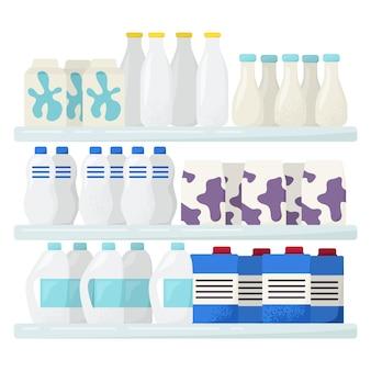 Полка магазина рыночного молока, свежий домашний цельномолочный напиток