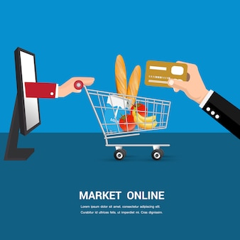Market online cartoon vector.