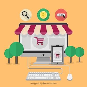 Market online concept Free Vector