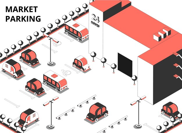 Market parking isometric illustration with text