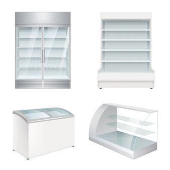 市場の冷蔵庫。店舗の現実的な冷蔵庫のための空の商用機器ショーケース