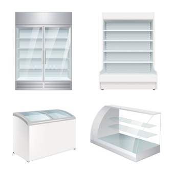 Market refrigerators. empty commercial equipment showcase for store realistic refrigerators