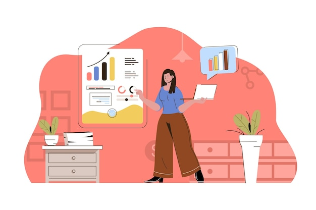 Market research concept woman analyst analyzes data
