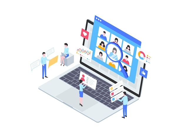 시장 조사 아이소메트릭 그림입니다. 모바일 앱, 웹사이트, 배너, 다이어그램, 인포그래픽 및 기타 그래픽 자산에 적합합니다.
