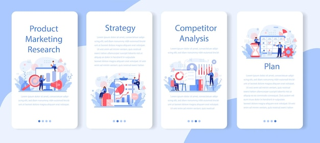 시장 조사 모바일 응용 프로그램 배너 세트. 신제품 개발을위한 비즈니스 연구. 시장 데이터 통계 분석 및 제품 광고.
