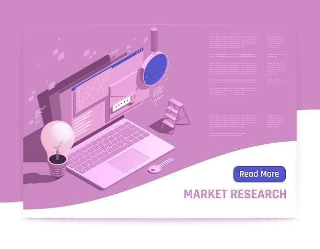 ノートパソコンで市場調査のウェブバナー