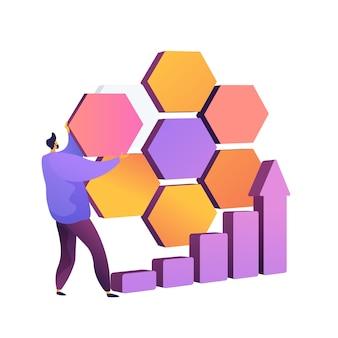 市場セグメンテーション。会社の分割、ビジネスの可能性、市場。ターゲットオーディエンス、消費者の発見。サブセット、円グラフのデザイン要素。