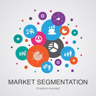 マーケットセグメンテーションコンセプトテンプレート。モダンなデザインスタイル。人口統計、セグメント、ベンチマーク、年齢層などのアイコンが含まれています