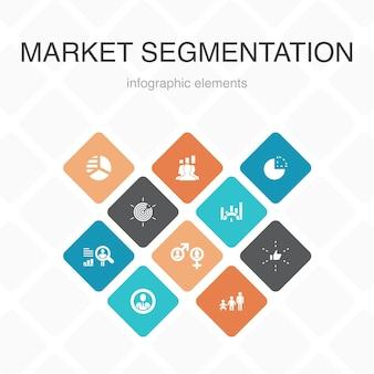 マーケットセグメンテーションインフォグラフィック10オプションカラーdesign.demography、セグメント、ベンチマーク、年齢層のシンプルなアイコン