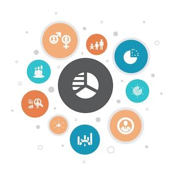 マーケットセグメンテーションインフォグラフィック10ステップバブルdesign.demography、セグメント、ベンチマーク、年齢層のシンプルなアイコン