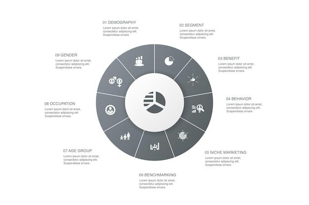 マーケットセグメンテーションインフォグラフィック10ステップサークルdesign.demography、セグメント、ベンチマーク、年齢層のシンプルなアイコン