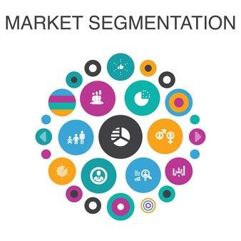 マーケットセグメンテーションインフォグラフィックサークルの概念。スマートui要素の人口統計、セグメント、ベンチマーク、年齢層