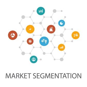 マーケットセグメンテーションプレゼンテーションテンプレート、カバーレイアウト、インフォグラフィック。人口統計、セグメント、ベンチマーク、年齢層のアイコン