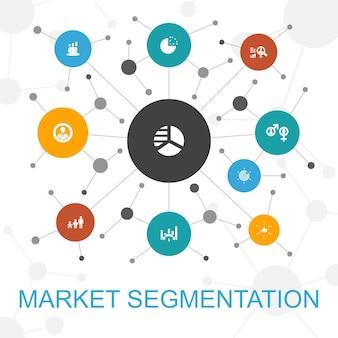 アイコンと市場セグメンテーショントレンディなwebの概念。人口統計、セグメント、ベンチマーク、年齢層などのアイコンが含まれています