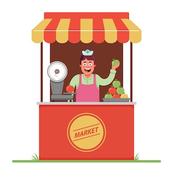 A market seller sells and weighs apples. a small tent in the market. flat character.