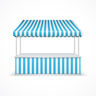 Market stall with blue and white stripes.