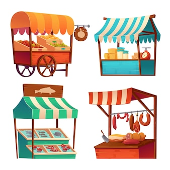 Market stalls, fair booths, wooden kiosk with striped awning and food products