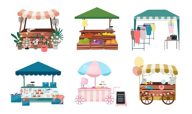 시장은 평평한 s 세트를 포장합니다. 공정하고 유원 한 무역 텐트, 야외 키오스크 및 카트. 거리 쇼핑 장소 만화 개념. 꽃, 야채, 의류 상품을위한 여름 시장 카운터