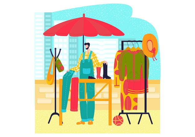 Рыночные прилавки, комплект одежды в плоском стиле, уличный магазин модной одежды, продажа платьев, карикатура, изолированная на белом.