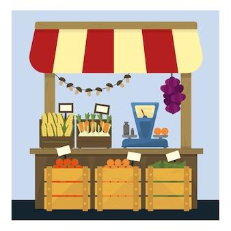 Рынок стенд со свежими овощами