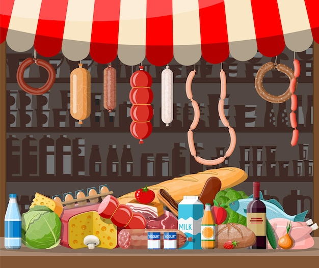 Market store interior with goods. big shopping mall. interior store inside. checkout counter, grocery, drinks, food, fruits, dairy products.