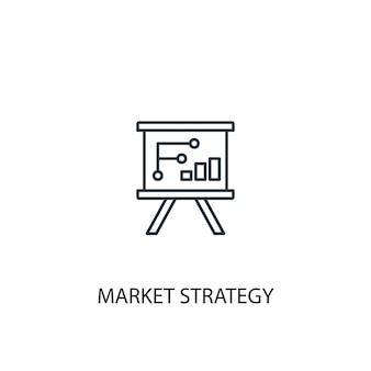市場戦略のコンセプトラインアイコン。シンプルな要素のイラスト。市場戦略コンセプト概要シンボルデザイン。 webおよびモバイルui / uxに使用できます