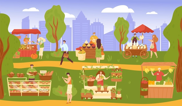 Market at street park vector illustration flat people man woman character buy food in shop city busi...