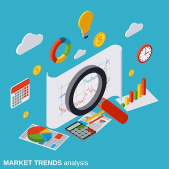 Market trends analysis vector concept illustration