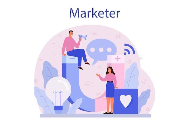 マーケター。広告とマーケティングの概念。事業戦略と顧客とのコミュニケーション。
