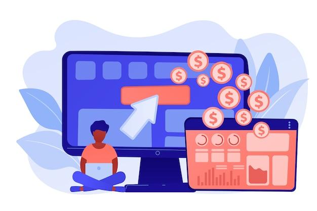 マーケターとアナリストは、webサイトでタグを展開および管理します。タグ管理システム、e-マーケティングタグ付けツール、タグデータ収集の概念。ピンクがかった珊瑚bluevector分離イラスト